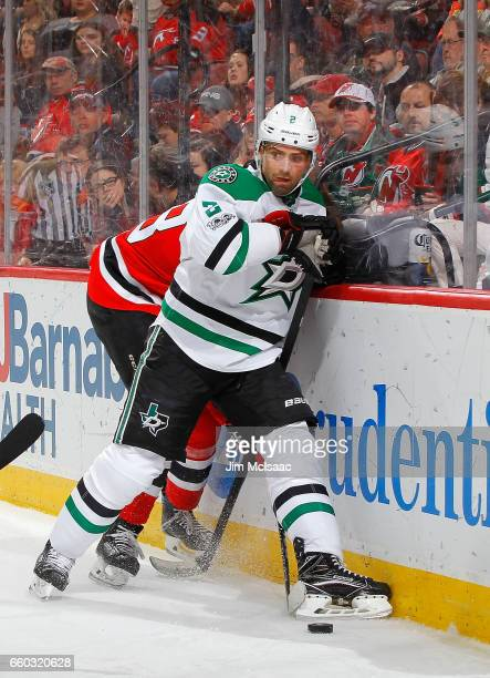 Dan Hamhuis of the Dallas Stars in action against the New Jersey Devils on March 26 2017 at Prudential Center in Newark New Jersey The Stars defeated...