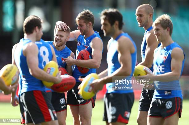Dan Hannebery and Alex Johnson of the Swans train during a Sydney Swans AFL training session at Sydney Cricket Ground on July 11 2017 in Sydney...