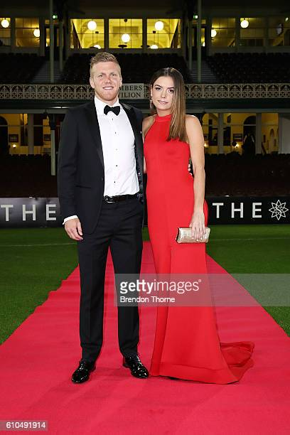 Dan Hannebery and Katie Cody arrive at the Sydney Swans function at Sydney Cricket Ground ahead of the 2016 AFL Brownlow Medal ceremony on September...