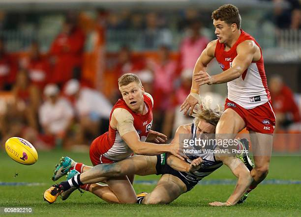 Dan Hannebery of the Swans Cameron Guthrie of the Cats and Tom Papley of the Swans compete for the ball during the 2016 AFL Second Preliminary Final...
