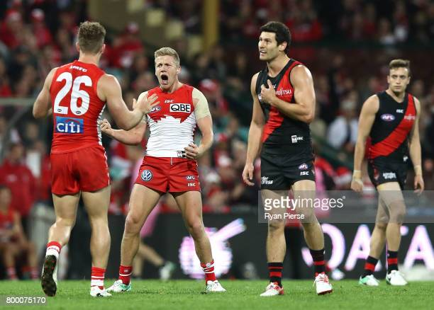 Dan Hannebery of the Swans celebrates a goal during the round 14 AFL match between the Sydney Swans and the Essendon Bombers at Sydney Cricket Ground...