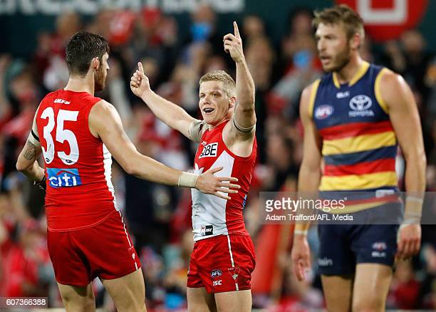 Dan Hannebery of the Swans celebrates a goal with Sam Naismith of the Swans during the 2016 AFL First Semi Final match between the Sydney Swans and...