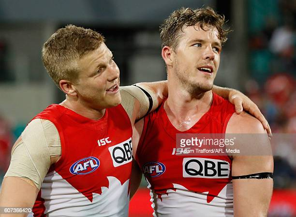 Dan Hannebery of the Swans celebrates with Luke Parker of the Swans during the 2016 AFL First Semi Final match between the Sydney Swans and the...