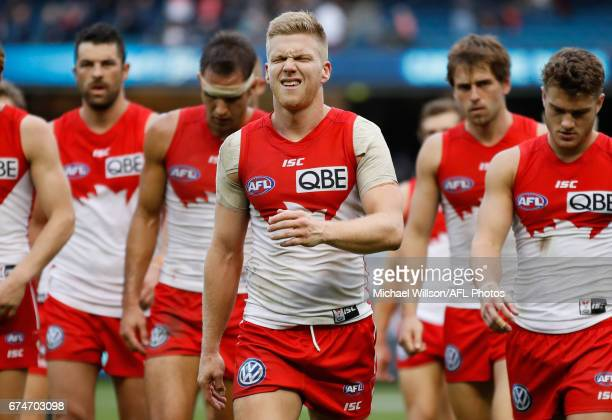 Dan Hannebery of the Swans looks dejected after a loss during the 2017 AFL round 06 match between the Carlton Blues and the Sydney Swans at the...