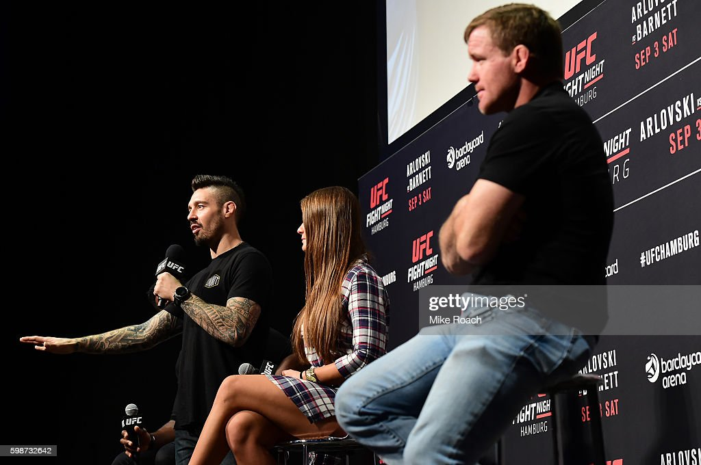 Dan Hardy, Karolina Kowalkiewicz of Poland, and UFC Hall of Famer Matt Hughes answers questions for fans and media during a Q&A before the UFC Fight Night Weigh-in held at Barclaycard Arena on September 2, 2016 in Hamburg, Germany.