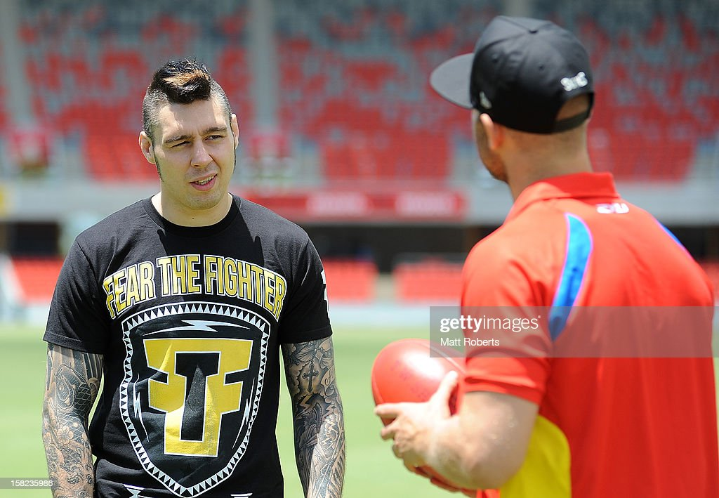 <a gi-track='captionPersonalityLinkClicked' href=/galleries/search?phrase=Dan+Hardy&family=editorial&specificpeople=5359879 ng-click='$event.stopPropagation()'>Dan Hardy</a> speaks with Gary Ablett of the Suns during a UFC media session with the AFL Gold Coast Suns at Metricon Stadium on December 12, 2012 on the Gold Coast, Australia.