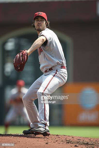 Dan Haren of the Arizona Diamondbacks pitches during the game against the San Francisco Giants at ATT Park in San Francisco California on September...