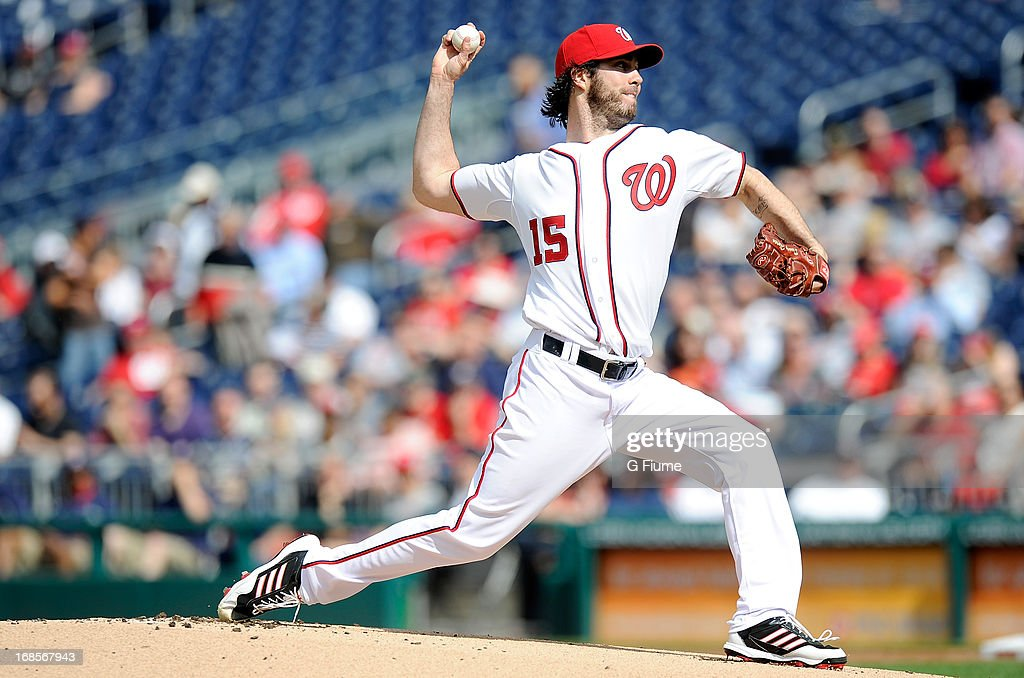 <a gi-track='captionPersonalityLinkClicked' href=/galleries/search?phrase=Dan+Haren&family=editorial&specificpeople=228587 ng-click='$event.stopPropagation()'>Dan Haren</a> #15 of the Washington Nationals pitches against the Detroit Tigers at Nationals Park on May 9, 2013 in Washington, DC.