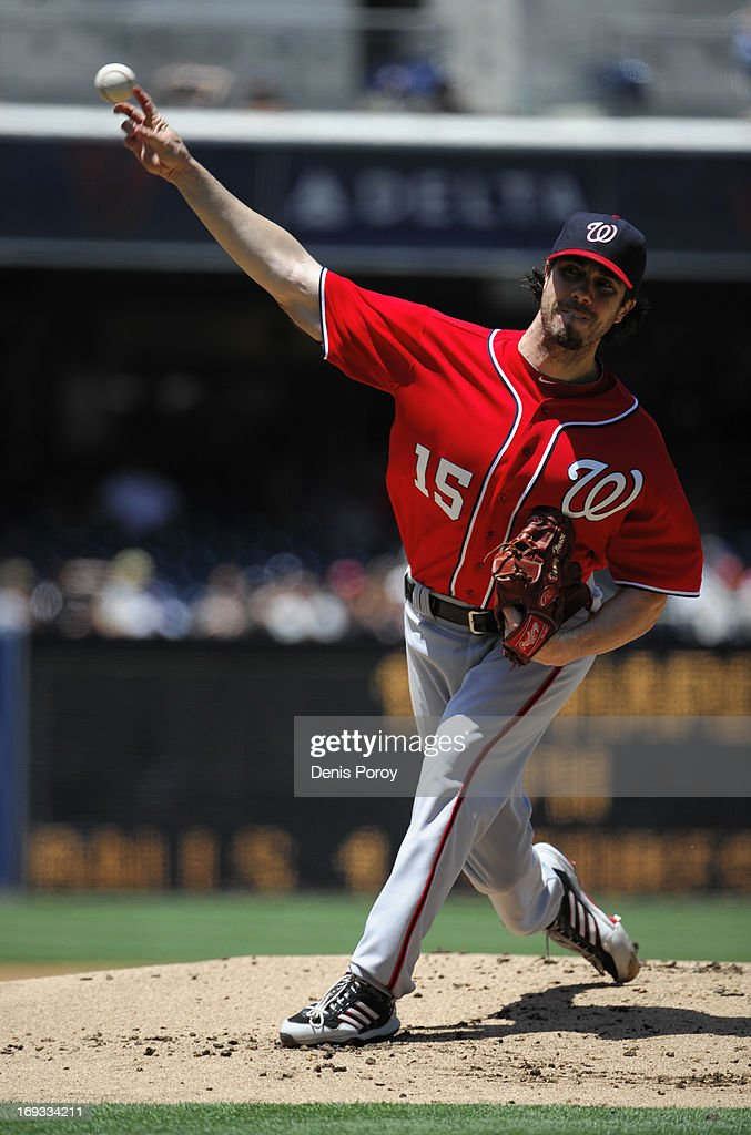 Dan Haren #15 of the Washington Nationals pitches during a baseball game against the San Diego Padres at Petco Park on May 19, 2013 in San Diego, California.