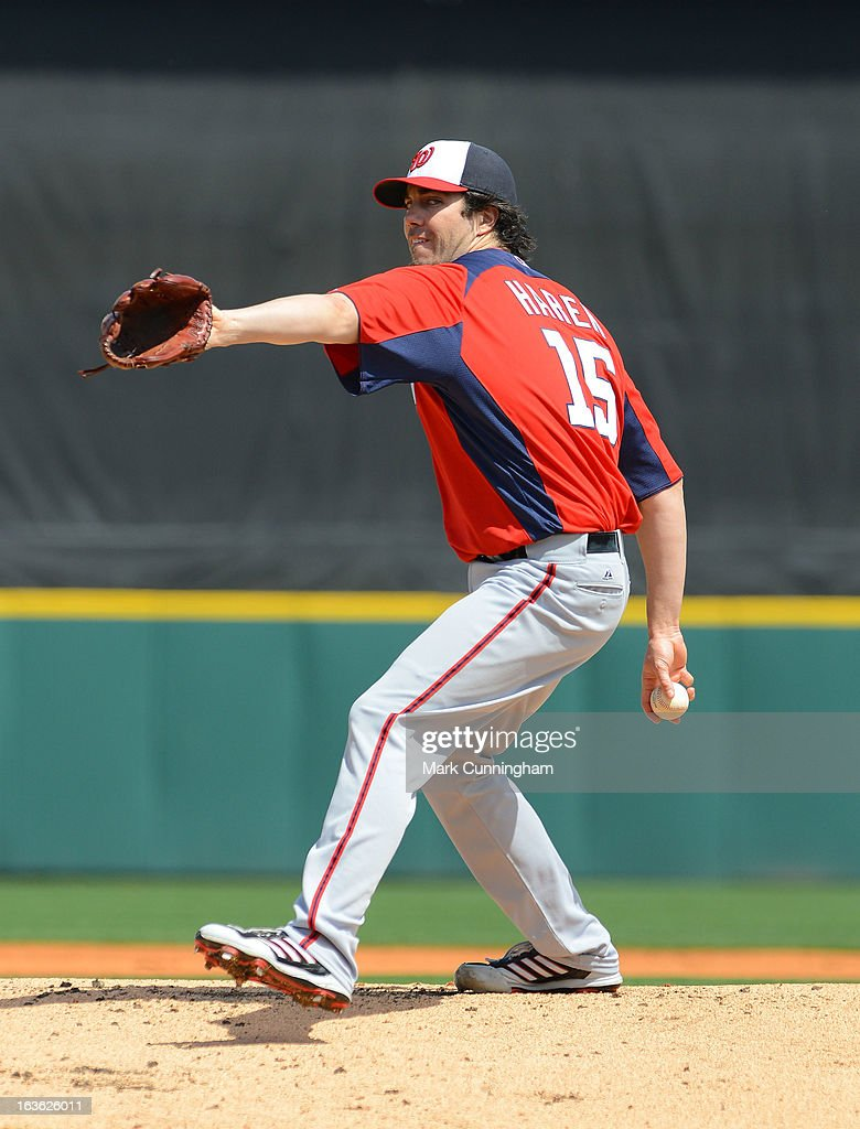 Dan Haren #15 of the Washington Nationals pitches during the spring training game against the Detroit Tigers at Joker Marchant Stadium on March 10, 2013 in Lakeland, Florida. The Tigers defeated the Nationals 2-1.