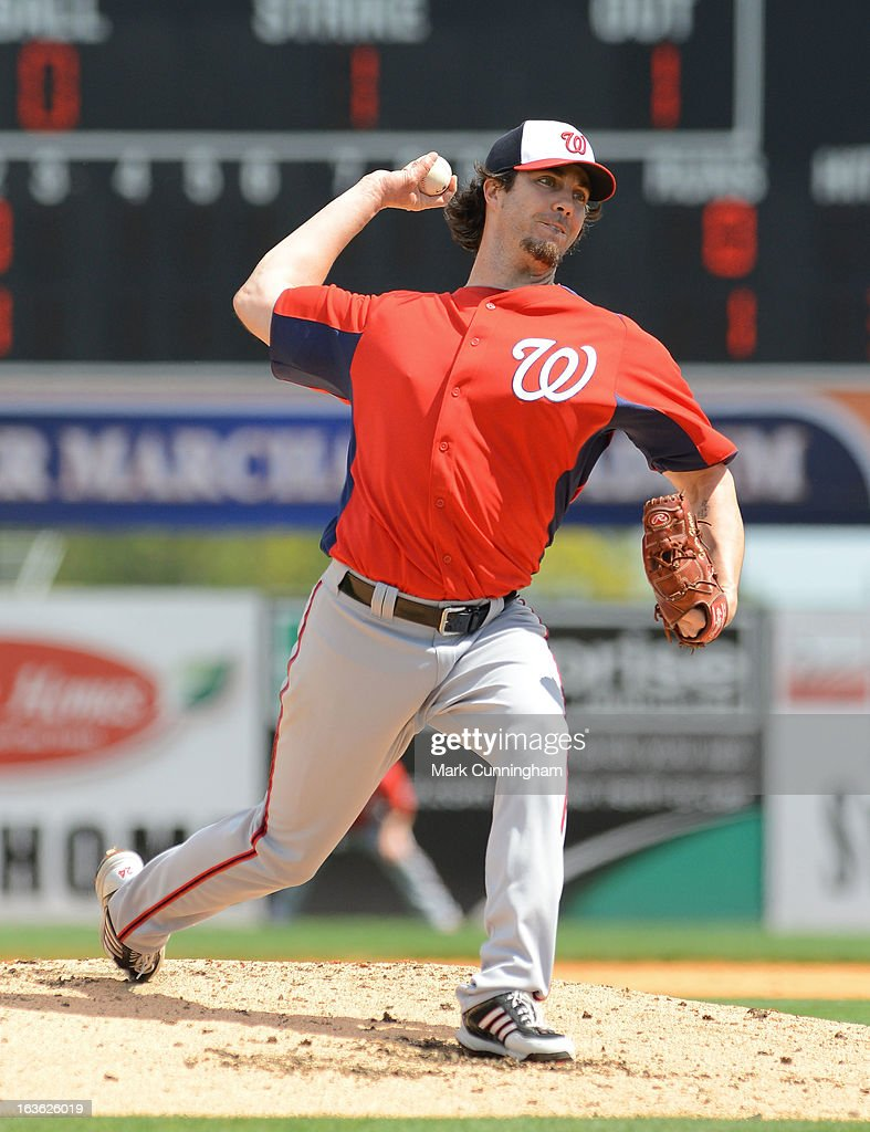 <a gi-track='captionPersonalityLinkClicked' href=/galleries/search?phrase=Dan+Haren&family=editorial&specificpeople=228587 ng-click='$event.stopPropagation()'>Dan Haren</a> #15 of the Washington Nationals pitches during the spring training game against the Detroit Tigers at Joker Marchant Stadium on March 10, 2013 in Lakeland, Florida. The Tigers defeated the Nationals 2-1.