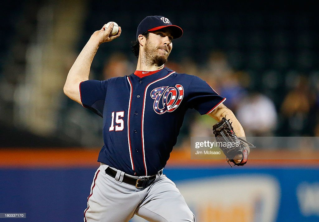 <a gi-track='captionPersonalityLinkClicked' href=/galleries/search?phrase=Dan+Haren&family=editorial&specificpeople=228587 ng-click='$event.stopPropagation()'>Dan Haren</a> #15 of the Washington Nationals pitches in the first inning against the New York Mets at Citi Field on September 11, 2013 in the Flushing neighborhood of the Queens borough of New York City.