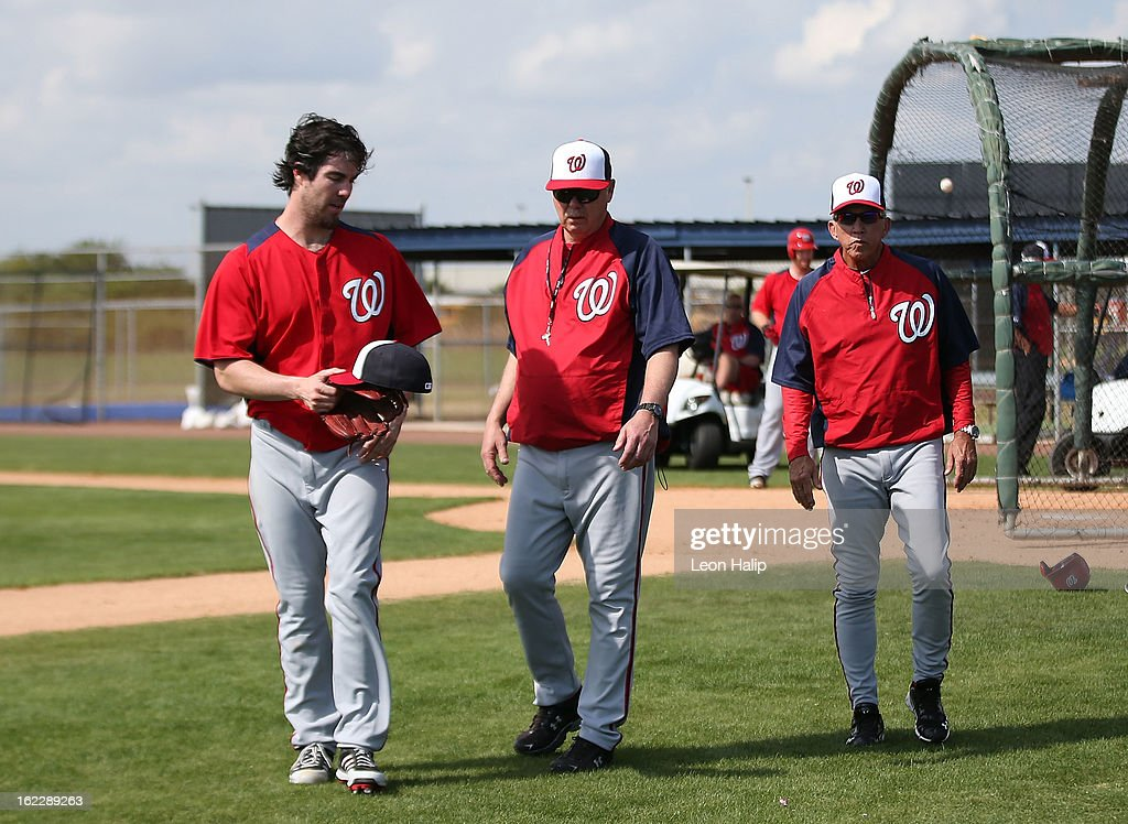 Dan Haren of the Washington Nationals talks with pitching coach Steve McCatty and manager Davey Johnson during spring training workouts on February...