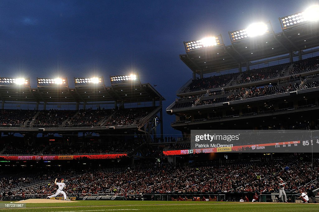 <a gi-track='captionPersonalityLinkClicked' href=/galleries/search?phrase=Dan+Haren&family=editorial&specificpeople=228587 ng-click='$event.stopPropagation()'>Dan Haren</a> #15 of the Washington Nationals throws a pitch against <a gi-track='captionPersonalityLinkClicked' href=/galleries/search?phrase=Carlos+Beltran&family=editorial&specificpeople=167108 ng-click='$event.stopPropagation()'>Carlos Beltran</a> #3 of the St. Louis Cardinals in the fourth inning during a game at Nationals Park on April 22, 2013 in Washington, DC.