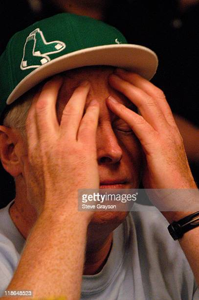 Dan Harrington rubs his brow during day six of the 2004 World Series of Poker at Binion's Horseshoe Club and Casino in Las Vegas Nevada May 27 2004