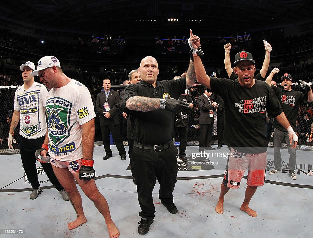 Dan Henderson celebrates defeating <a gi-track='captionPersonalityLinkClicked' href=/galleries/search?phrase=Mauricio+Rua&family=editorial&specificpeople=6392259 ng-click='$event.stopPropagation()'>Mauricio Rua</a> during an UFC Light Heavyweight bout at the HP Pavillion on November 19, 2011 in San Jose, California.