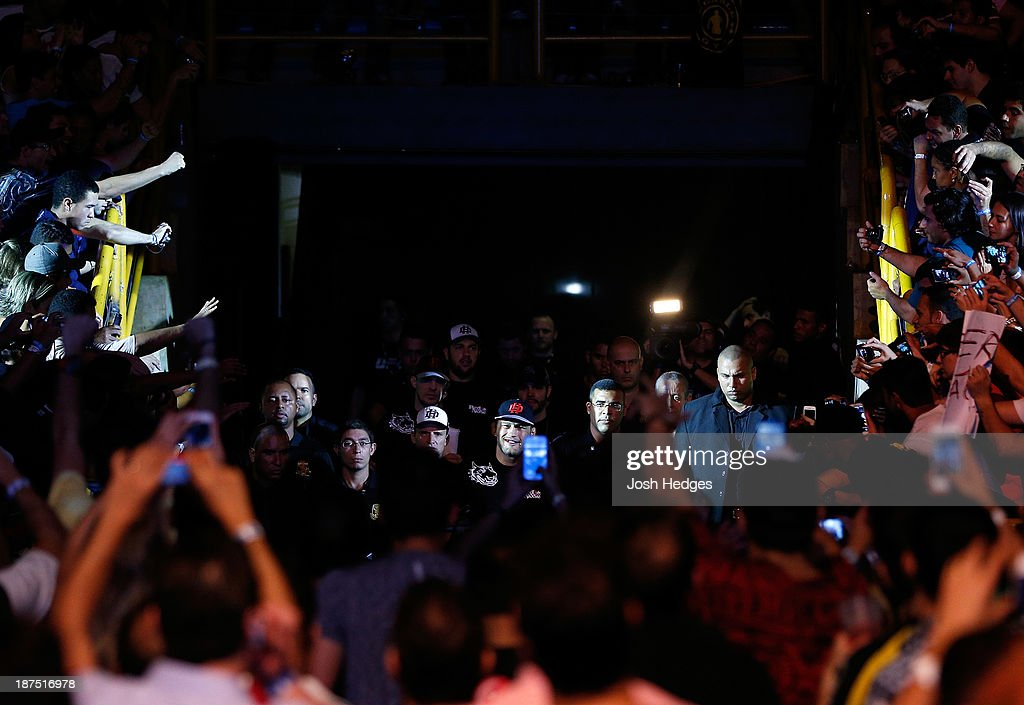 Dan Henderson enters the arena before his light heavyweight bout against Vitor Belfort during the UFC event at Arena Goiania on November 9, 2013 in Goiania, Brazil.
