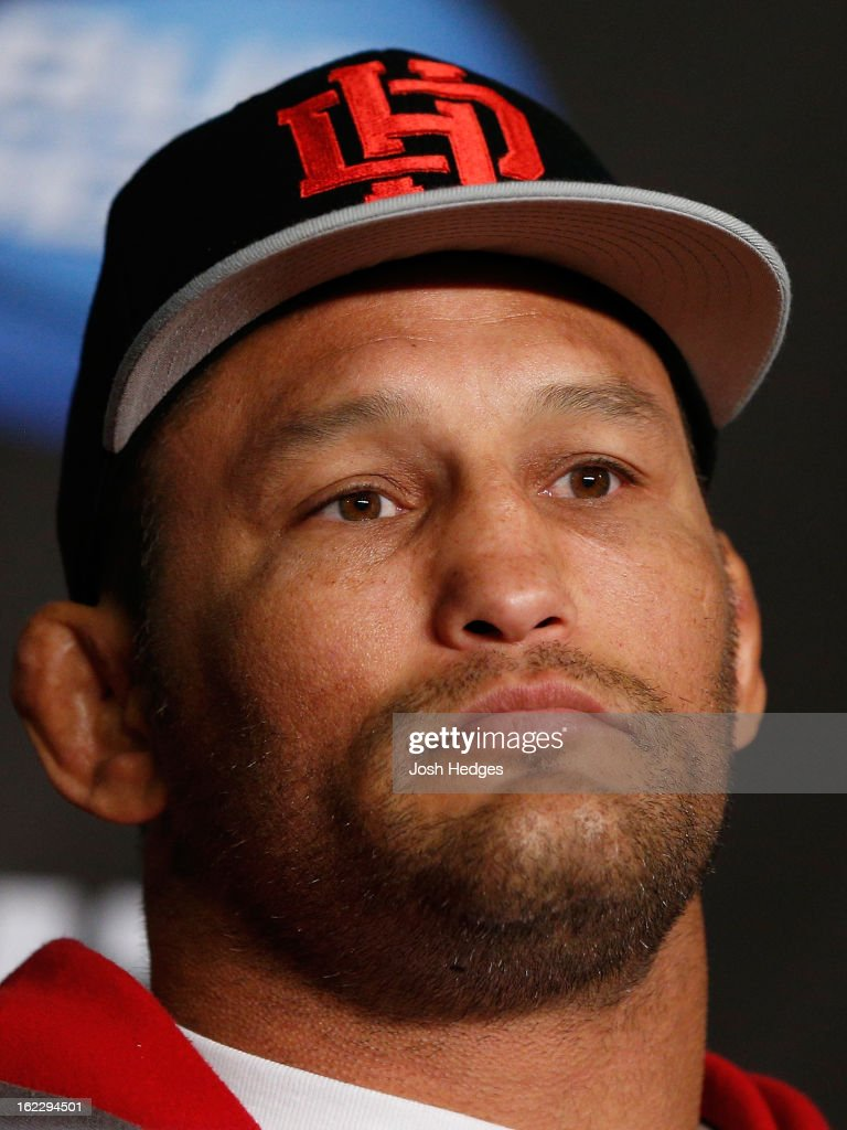 Dan Henderson interacts with media during a UFC pre-fight press conference at Honda Center on February 21, 2013 in Anaheim, California.