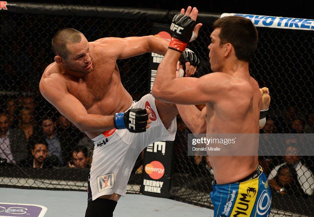 Dan Henderson kicks Lyoto Machida in their light heavyweight bout during UFC 157 at Honda Center on February 23, 2013 in Anaheim, California.