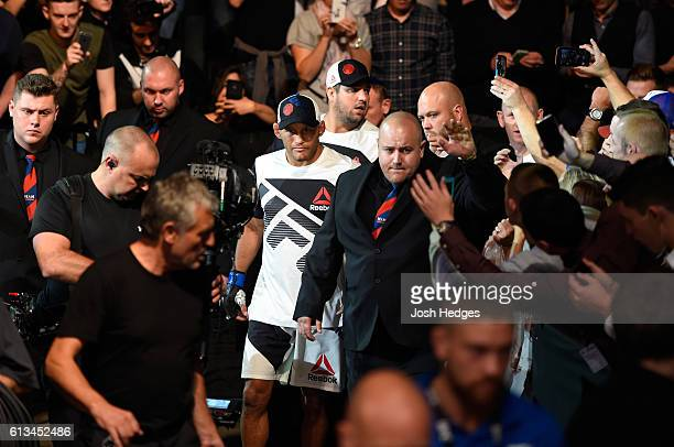 Dan Henderson prepares to enter the Octagon before facing Michael Bisping of England in their UFC middleweight championship bout during the UFC 204...
