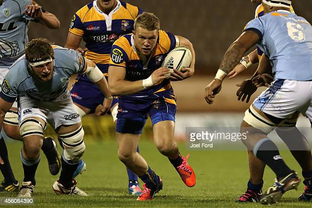 Dan Hollinshead of the Bay of Plenty Steamers runs with the ball during the ITM Cup match between Bay of Plenty and Northland on September 25 2014 in...