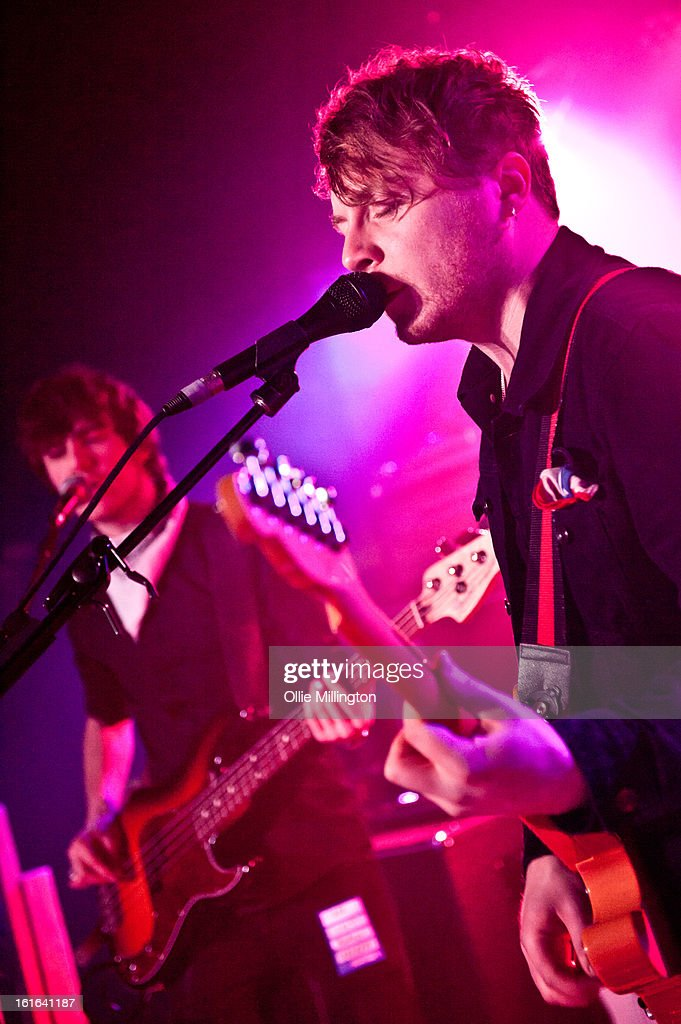 Dan Holyoak and Andy Stone of Little Night Terrors perform on stage at The Bodega Social Club on February 13, 2013 in Nottingham, England.