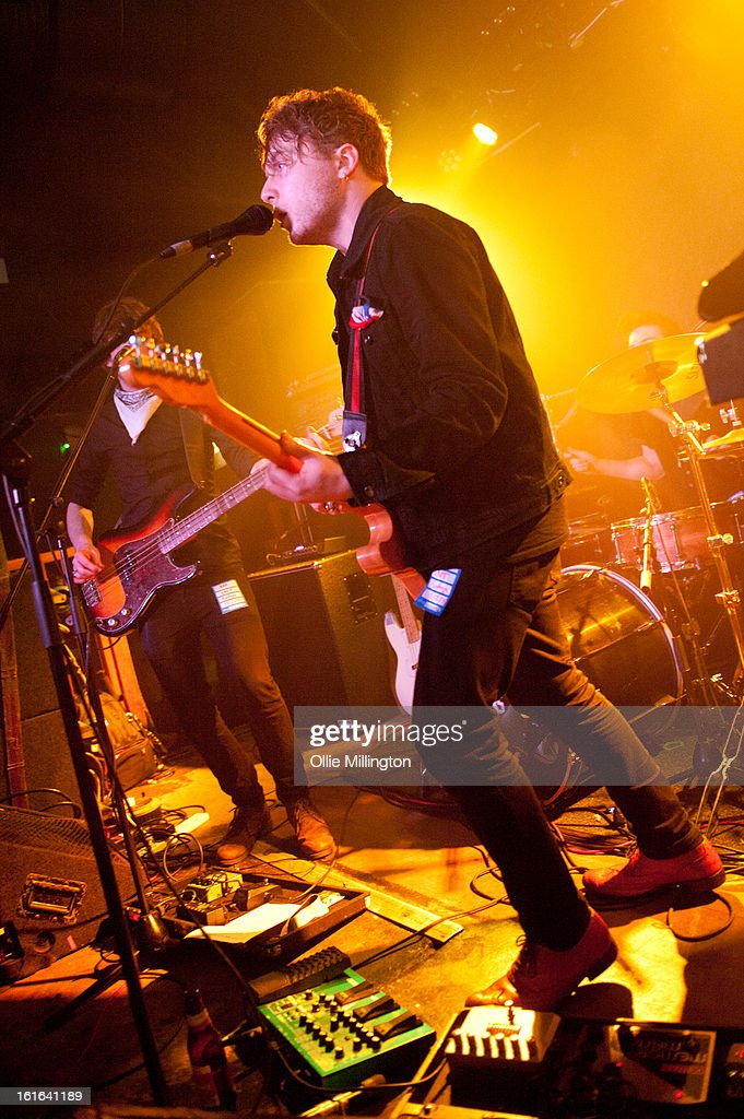Dan Holyoak, Andy Stone and James Stone of Little Night Terrors perform on stage at The Bodega Social Club on February 13, 2013 in Nottingham, England.