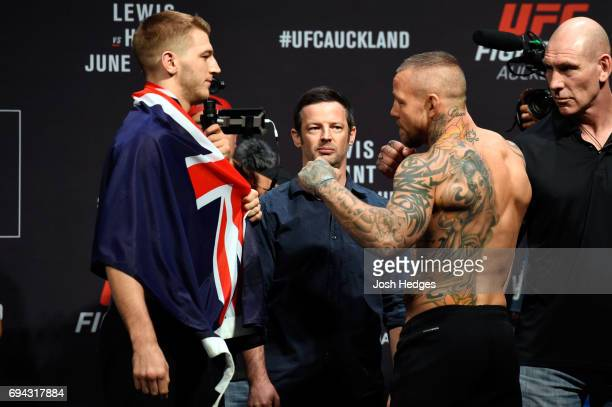 Dan Hooker of New Zealand pand Ross Pearson of England face off during the UFC Fight Night weighin at Spark Arena on June 10 2017 in Auckland New...