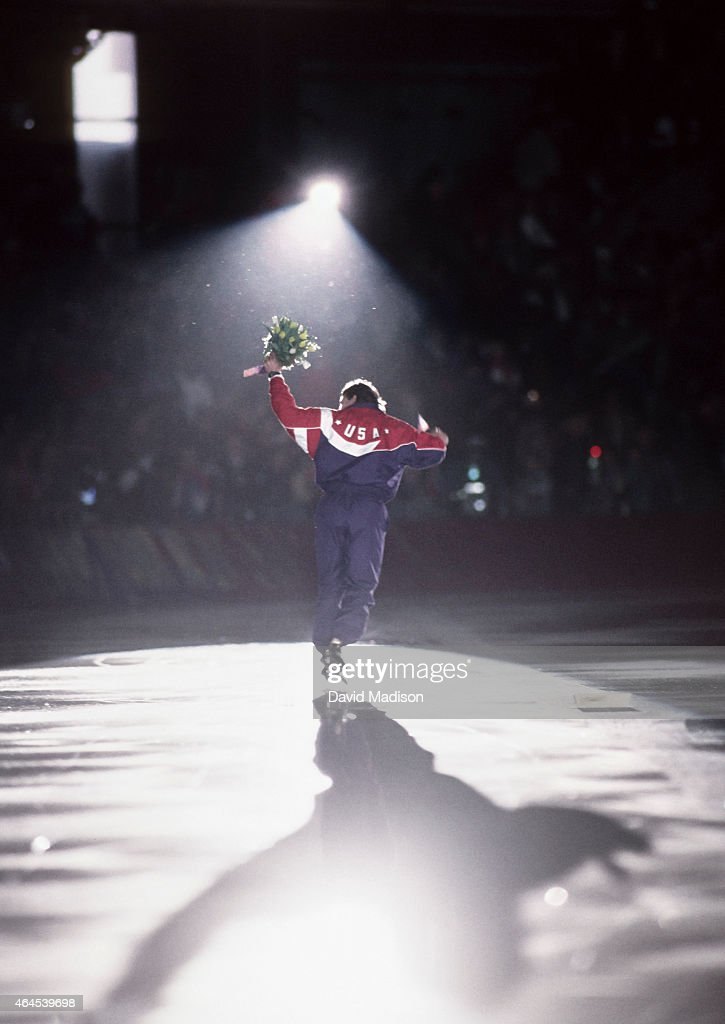 <a gi-track='captionPersonalityLinkClicked' href=/galleries/search?phrase=Dan+Jansen&family=editorial&specificpeople=235919 ng-click='$event.stopPropagation()'>Dan Jansen</a> of the USA skates a victory lap following the Men's 1000 meter event of the Long Track Speed Skating competition of the 1994 Winter Olympics on February 18, 1994 at Hamar Olympic Hall in Lillehammer, Norway. Jansen was the gold medalist in the event.