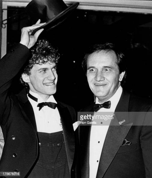 Dan Jenkins and Roger Miller attend the opening party for 'Big River' on April 25 1985 at Tavern on the Green in New York City
