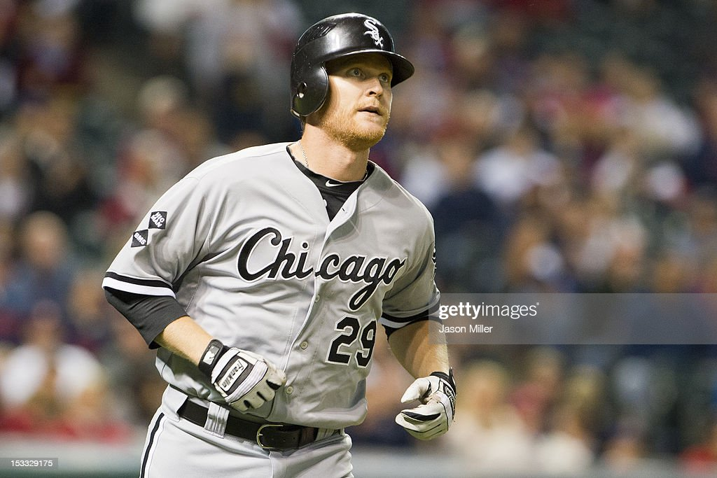 Dan Johnson #29 of the Chicago White Sox hits his second two run home run of the game during the fifth inning against the Cleveland Indians at Progressive Field on October 3, 2012 in Cleveland, Ohio.
