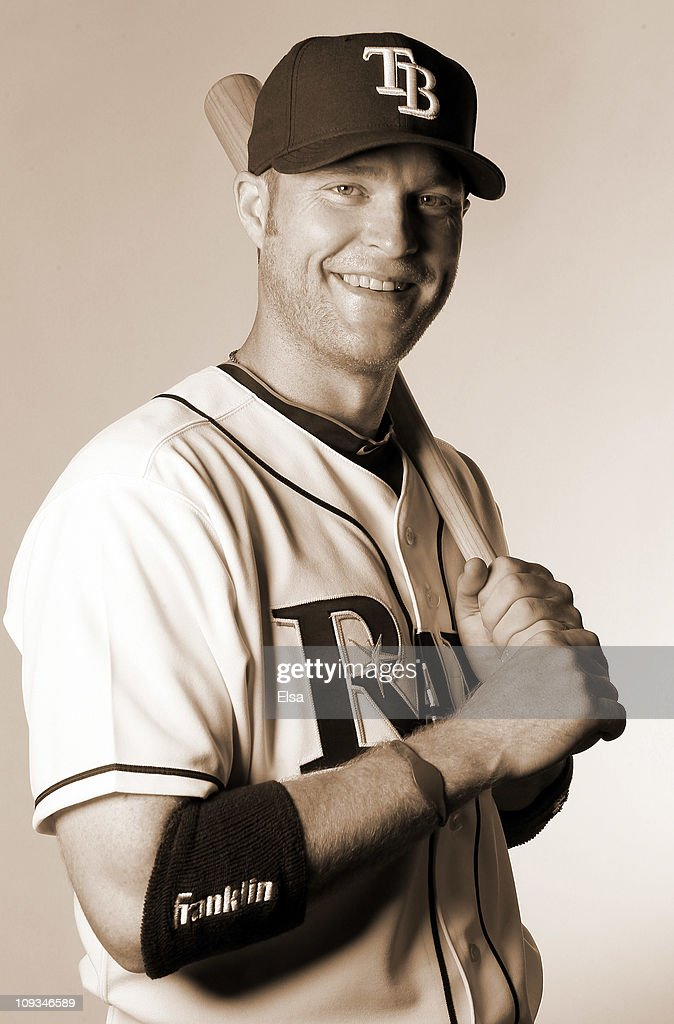Dan Johnson of the Tampa Bay Rays poses for a portrait during the Tampa Bay Rays Photo Day on February 22 2011 at the Charlotte Sports Complex in...