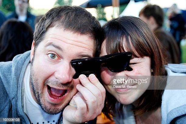 Dan Joyce of Dirty Sanchez and Suzi Wong pose for a photograph in the Ray Ban area during day one of the Isle of Wight Festival 2010 at Seaclose Park...