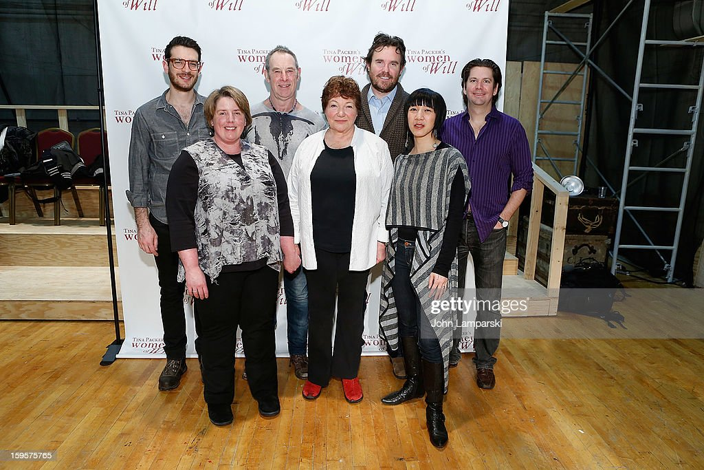 Dan Kluger, Nigel Gore, Eric Tucker, Les Dickert, (F) Sarah Hancock, Tina Packer and Valerie Bart attend Tina Packer's 'Women of Will' cast photo call at The Gym at Judson on January 16, 2013 in New York City.