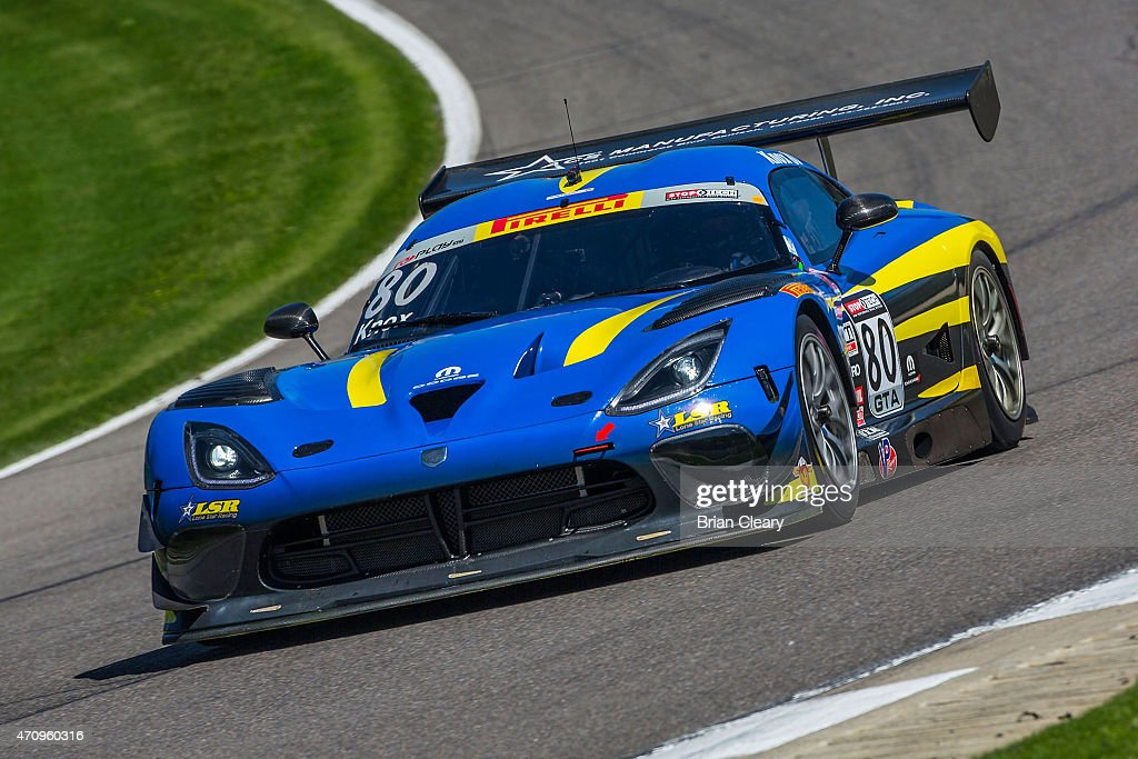Dan Knox drives the Dodge Viper during practice for the Pirelli World Challenge race at Barber Motorsports Park on April 24 2015 in Birmingham Alabama