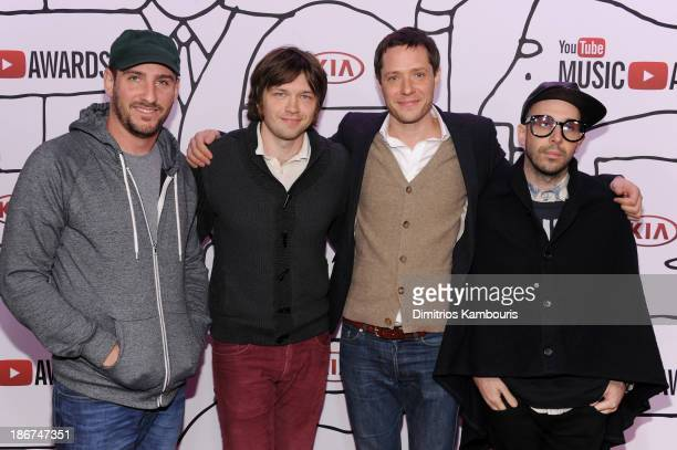 Dan Konopka Andy Ross Tim Nordwind and Damian Kulash of OK GO attends the YouTube Music Awards 2013 on November 3 2013 in New York City