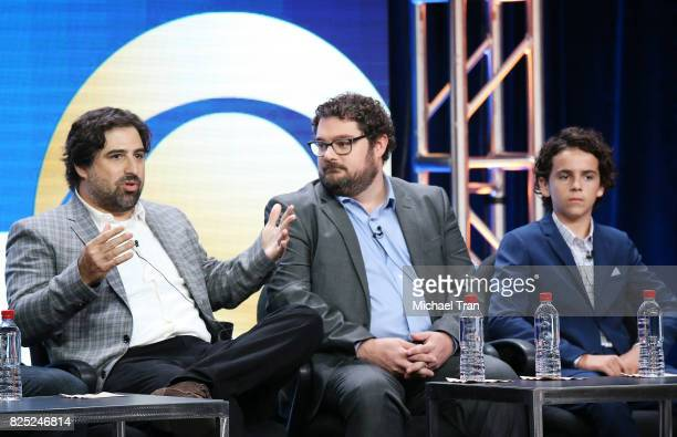Dan Kopelman Bobby Moynihan and Jack Dylan Grazer of 'Me Myself I' speak onstage during the 2017 Summer TCA Tour CBS Panels held at Various Locations...