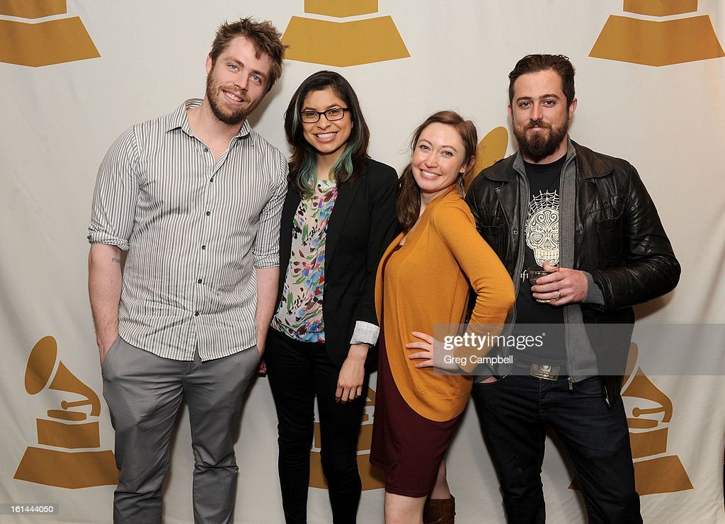 Dan Larkin, Pamela Basutto, Sheri Carr and Nico Rousin attend the 55th Annual GRAMMY Awards Telecast Party at Hard Rock Cafe on February 10, 2013 in Chicago, Illinois.