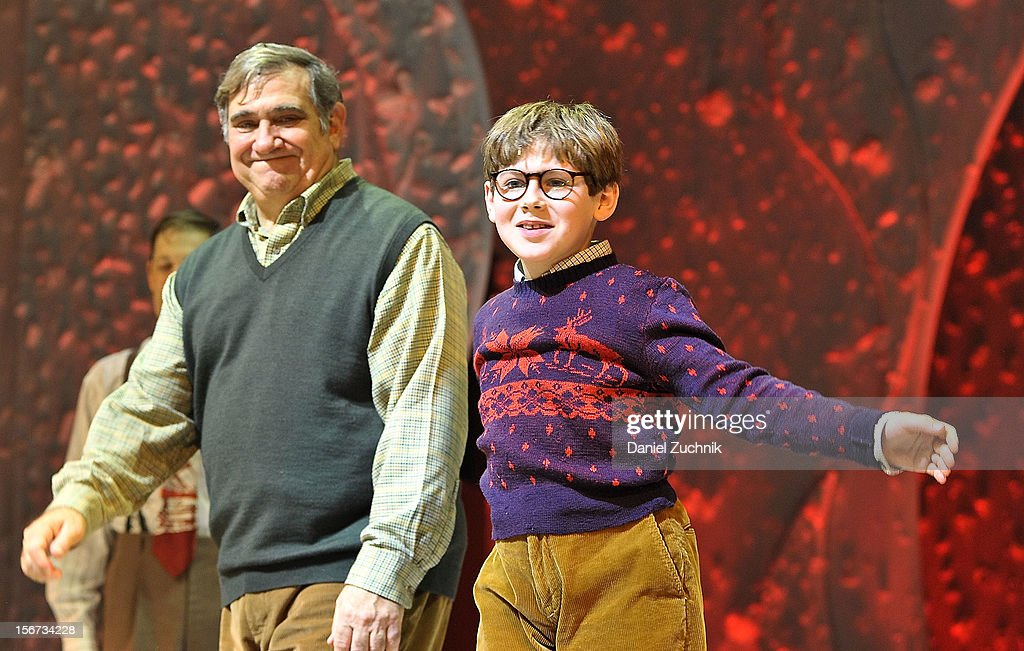 <a gi-track='captionPersonalityLinkClicked' href=/galleries/search?phrase=Dan+Lauria&family=editorial&specificpeople=757077 ng-click='$event.stopPropagation()'>Dan Lauria</a> and Johnny Rabe perform during 'A Christmas Story: The Musical' broadway opening at Lunt-Fontanne Theatre on November 19, 2012 in New York City.