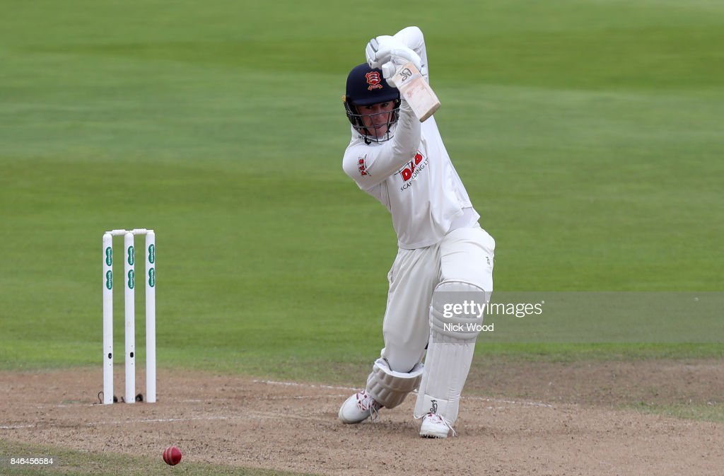 Dan Lawrence drives the ball during the Warwickshire v Essex - Specsavers County Championship: Division One cricket match at the Old Trafford Ground on September 13, 2017 in Birmingham, England.