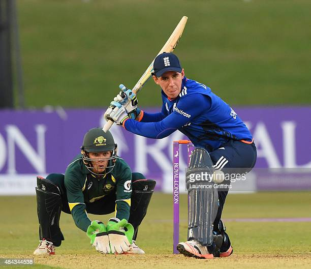 Dan Lawrence of England in action during the U19 One Day International match between England U19 and Australia U19 at The County Ground on August 17...