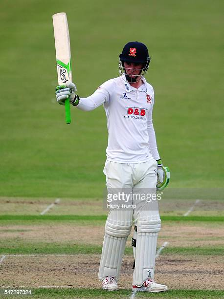 Dan Lawrence of Essex celebrates his half century during Day Two of the Specsavers County Championship Division Two match between Gloucestershire and...
