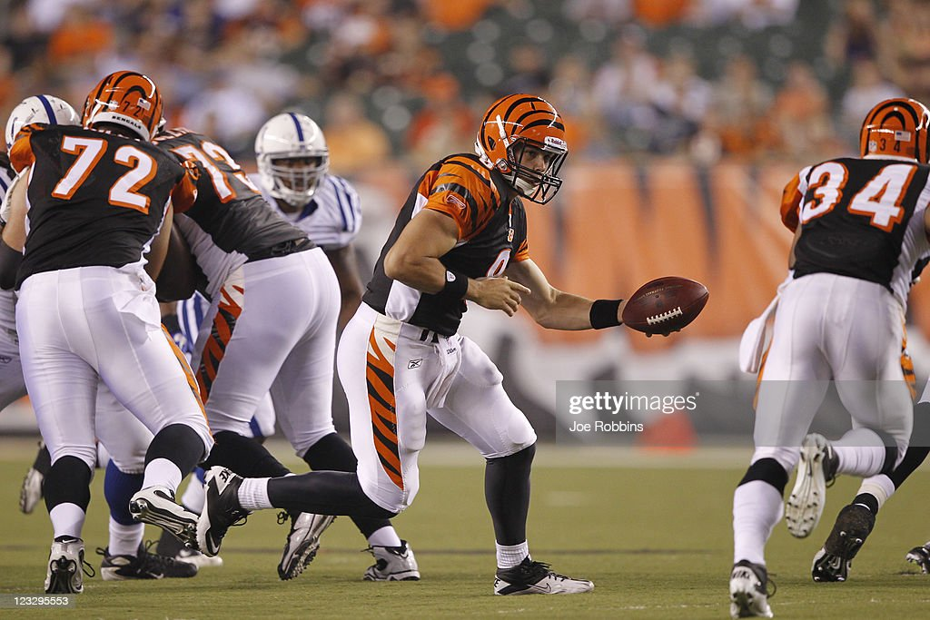 Dan LeFevour #8 of the Cincinnati Bengals looks to hand off during an NFL preseason game against the Indianapolis Colts at Paul Brown Stadium on September 1, 2011 in Cincinnati, Ohio. The Colts won 17-13.