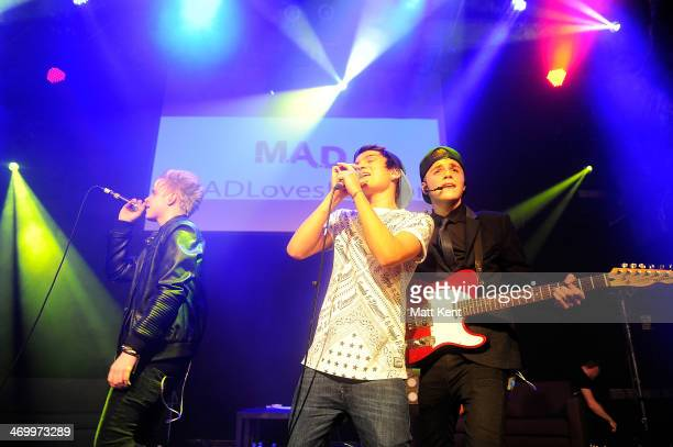 Dan Lewis Michael Suttakorn and Ben 'AB' Pryer of MAD perform at O2 Islington Academy on February 17 2014 in London England