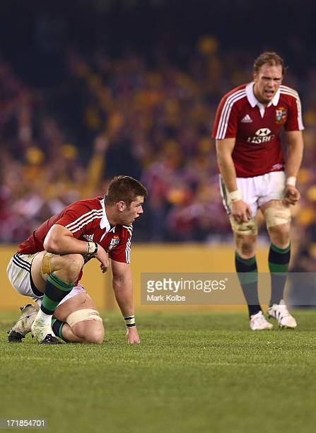 Dan Lydiate of the Lions and team mate Alum Wyn Jones of the Lions look on during game two of the International Test Series between the Australian...