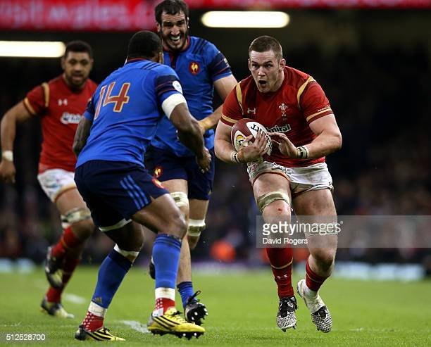 Dan Lydiate of Wales is challenged by Virimi Vakatawa of France during the RBS Six Nations match between Wales and France at the Principality Stadium...