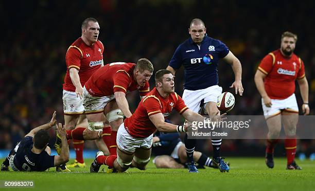 Dan Lydiate of Wales passes the ball during the RBS Six Nations match between Wales and Scotland at the Principality Stadium on February 13 2016 in...