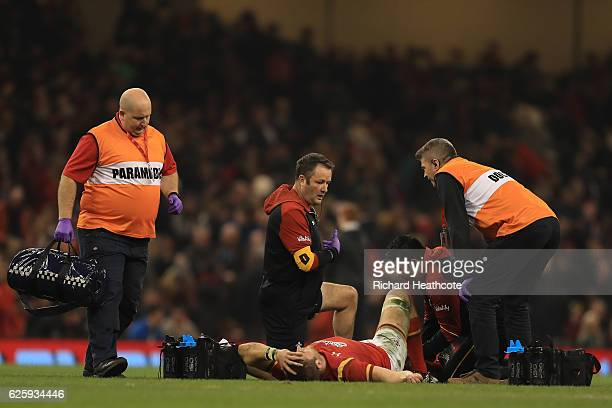 Dan Lydiate of Wales receives medical treatment during the international match between Wales and South Africa at Principality Stadium on November 26...