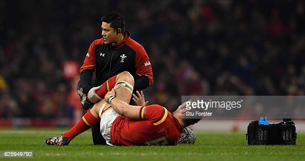 Dan Lydiate of Wales receives treatment for an injury during the International match between Wales and South Africa at Principality Stadium on...