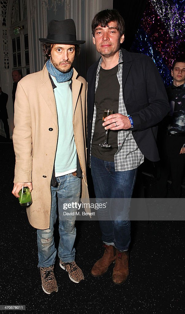Dan Macmillan (L) and Alex James attend Warner & Belvedere Post BRIT Awards party at The Savoy Hotel on February 19, 2014 in London, England.